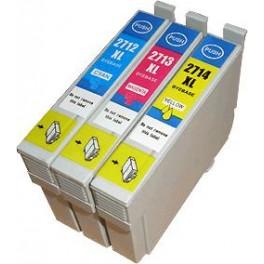 Pack de 4 cart génériques pour Epson WF 3620DWF/3640DTWF/7110DTW/7610DWF (T2715XL) 1 bk 39 ml/1xC/1xM/1xY  3 x17 ml E2715PACKN