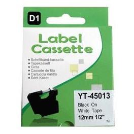 Cassette compatible Dymo LMPCII/LM120P (S0720530) Black White 12mm 7M YT45013