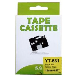 Cassette compatible Brother Ptouch (TZe-631) Black Yellow 12mm 8M YT631