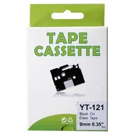 Cassette compatible Brother Ptouch (TZe-121) Black Transparent 9mm 8M YT121