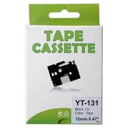 Cassette compatible Brother Ptouch (TZe-131) Black Transparent12mm 8M YT131