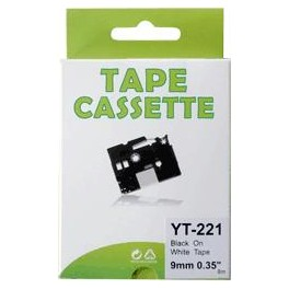 Cassette compatible Brother Ptouch (TZe-221) Black White 9mm 8M YT221