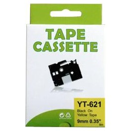 Cassette compatible Brother Ptouch (TZe-621) Black Yellow 9mm 8M YT621
