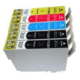 Pack jet d'encre compatibles avec Epson Stylus S22/SX125/SX420W(T1285) Puce BK*2+C/M/Y 081281PACKN