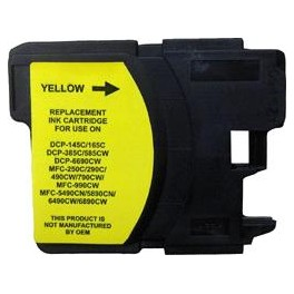 cartouche jet d'encre compatible Brother MFC 290/490/790/990/5490 (LC980/LC1100/LC61) Yellow 19ml 00691XY